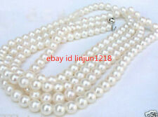 """Perfect Round AAA 6-7MM White Cultured Pearl Necklace 50"""""""