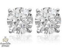 CERTIFIED .75ct 3/4ct ROUND-CUT E-F / VVS2-VS1 DIAMONDS PLATINUM STUDS EARRINGS