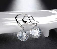 Earrings Fashion Women Silver Stud Sterling Ear 925 Crystal Dangle Rhinestone CZ