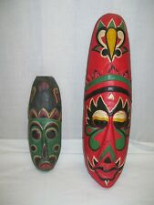 "Tiki Mask Tribal Aboriginal Art Decor Colorful wall hanging Indonesia 20"" & 12"