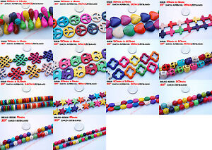 Mixed Colors Howlite Turquoise Gemstone Loose Beads Round Skull Heart Peace Star