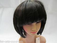 SHORT BLACK or BLONDE RAZER CUT BOB WITH FRINGE LADIES WIG HAIR PIECE UK SELLER