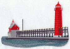 Grand Haven Lighthouse EMBROIDERED SET OF 2 BATHROOM TOWELS BY LAURA