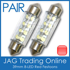 2 x 39mm 8-LED RED FESTOON INTERIOR LIGHT GLOBES/BULBS - Car/Auto/Boat/Trailer