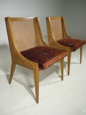 2 Vintage Modern WIngback Jack Larsen Fabric Cane Chairs Wormley/Probber Era