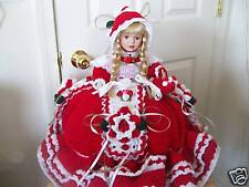 Handmade Crochet Valentine'S Day Bed Pillow Porcelain Doll w/Attach Pajama Bag