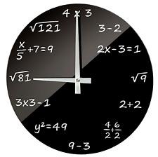 Design Funk Wanduhr Mathematik ALGEBRA Zahlen Funkuhr Büro Uhr Glas Schwarz