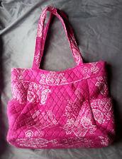 USED Vera Bradley pleated tote bag in STAMPED PAISLEY PINK pattern