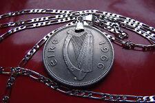 "1966 Irish Gaelic Salmon Coin Pendant Necklace (30"" 925 Sterling Silver Chain!)"