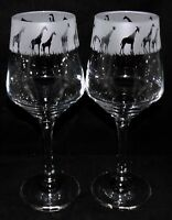 "New Etched ""GIRAFFE"" Wine Glass(es) - Free Gift Box - Large 390mls Glass"