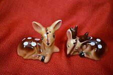 Vintage Deer Salt and Pepper Shakers Doe & Stag Bambi Rudolph Made in Japan