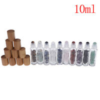 10Ml Bamboo Lid Caps Essential Oil Gemstone Roller Ball Bottles Glass Ch PM