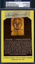 HERB PENNOCK D.48 SIGNED PSA/DNA GOLD HOF PLAQUE CUT AUTHENTIC AUTOGRAPH