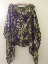 Citiknits Green Silver Silk Rayon Floral Sheer Top Size S or M