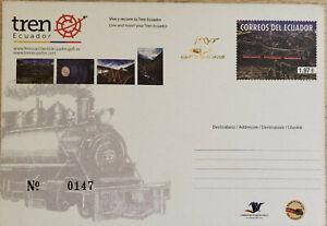 L) 2013 ECUADOR, NATURE, RAILWAYS, TRAIN, 1.97USD, POSTAL STATIONARY, THE TRAIN