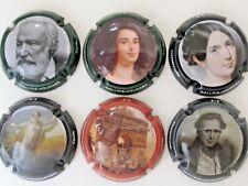 Série  de 6 capsules Champagne GALLOIS- HOUDART,  portraits, tableaux