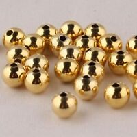 1PCS Solid 4MM Au585 14K Yellow Gold Perfect DIY Loose Bead For Bracelet