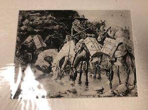 1888 Antique Photo Gravure MULE TRAIN CROSSING THE SIERRAS Fred'k Remington