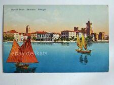SIRMIONE LAGO GARDA alberghi barca vela pescatori Brescia vecchia cartolina 459