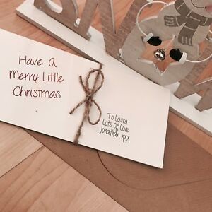 Personalised vintage/Retro Christmas Money/Gift Voucher Wallet Christmas Bow
