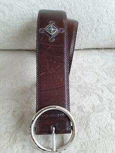 Brighton Sz L 34 Brown Leather Belt Silver & Blue Diamond Embellishments 1.75 W
