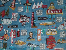 RETRO MOTEL SIGNS ROUTE 66 HISTORICAL VIBRANT COLORS BLUE COTTON FABRIC FQ