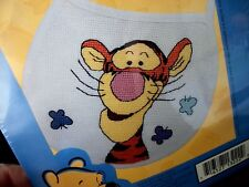 "Leisure Arts Stamped  Cross Stitch Baby Bib ""TIGGER WITH BUTTERFLIES"""