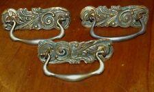 3 Matching Antique Art Nouveau Victorian Brass & Iron Drawer Pulls
