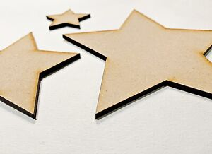 Large Wooden Star MDF 10cm, 20cm, 30cm, 40cm Ready To Decorate Craft Party Decor