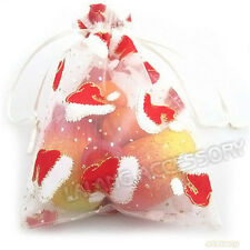 20x Wholesale Bulk Pattern Christmas Hat Organza Pouch Gift Bag Party 13x18cm L