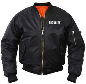 Security MA-1 Bomber Jacket Flight Jacket Law Enforcement Coat Black Rothco 7357