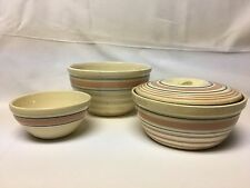 Vintage Stoneware 2 Bowls and Covered Bean Pot Blue and Pink Striped