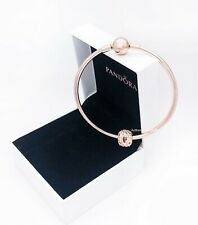 NEW Authentic PANDORA ROSE 14K Gold Moment Charm Clasp Bangle Bracelet 587132