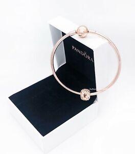 NEW Authentic PANDORA ROSE 14K Gold Moment Charm Clasp Bangle Bracelet 587132