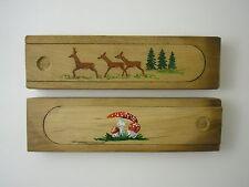 2 x Holz Griffelkasten Federkasten Griffeldose bemalt Reh Fliegenpilz