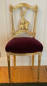 Gilt Louis XVI Side Chair Crimson Velvet