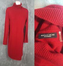 Magaschoni Women's Size S 100% Cashmere Red Sweater Turtleneck Tunic Dress EUC