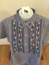 Ladies Grenouille Seersucker Cotton Short Sleeve Shirt, Large, Navy/flowers