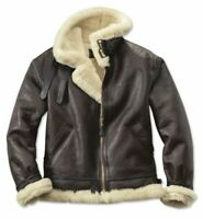 B3 Aviator Real Shearling Brown Sheepskin Leather Flight Bomber Jacket