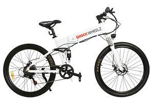 ELECTRIC BIKE SHOCK WHEELZ™ E-BIKES WHITE 250W MOUNTAIN BIKE 7 SPEED FOLDABLE