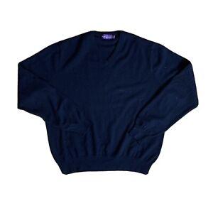 Ralph Lauren Purple Label Mens LARGE 100% Cashmere LS V Neck Shirt Italy Flaw