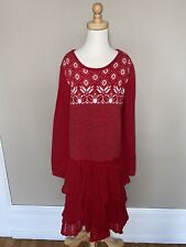 Hanna Andersson Girls Red Fair Isle Tiered Sweater  Dress Size 140 10
