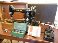 Singer Sewing Machine, Model 99k vintage mid 1950's electric with foot pedal.