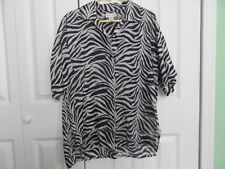 Woman's size Medium Large  Bogari Black & White 100% Silk Zebra Print Top