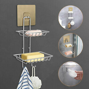 Double Tier Soap Dish Holder Wall Mounted Stainless Steel Hook Shower Bathroom