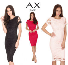 AX Paris Womens Midi Bodycon Dress Crochet Lace Short Sleeve Round Neckline