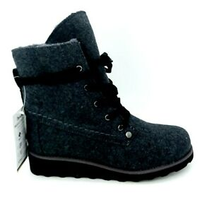Bear Paw Womens Wedge Heel Lace Up Ankle Bootie Fur Lined Grey Felt Sz 8 M NEW