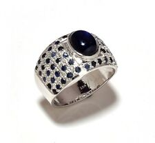 Natural Sapphire Gem Stone Men's Ring Jewelery 925 Sterling Silver Us 7 8