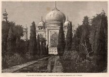 GRAVURE 1872 ENGRAVING INDE INDIA AGRA TAJ MAHAL ALLEE