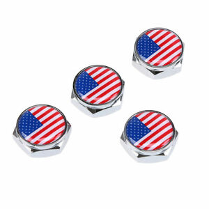 4x Car License Plate Frame Security Screw Bolt Caps Covers Chrome For BMW NISSAN